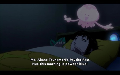 """Ms. Akane Tsunemori's Psycho-Pass Hue this morning is powder blue!"""