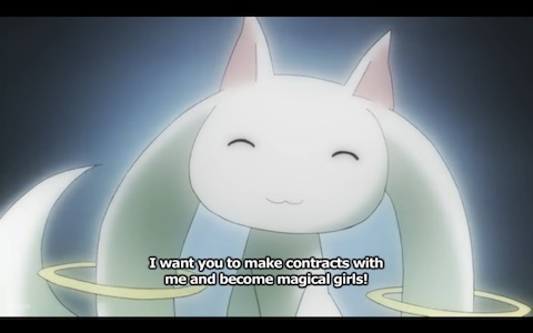 "Kyubey (magical cat-fox thing): ""I want you to make contracts with me and become magical girls!"""