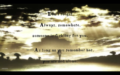 """Don't forget. Always, somewhere, someone is fighting for you. ---As long as you remember her, you are not alone."""
