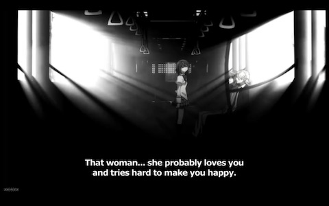 "Sayaka: ""That woman... she probably loves you and tries hard to make you happy."""