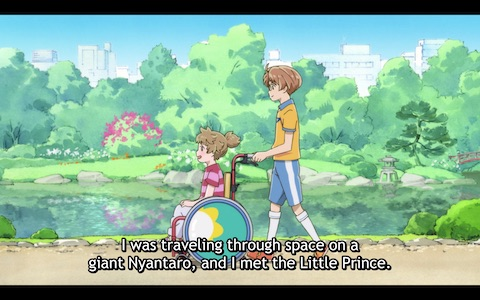 (Enta wheels Haruka in his wheelchair back into the hospital.)