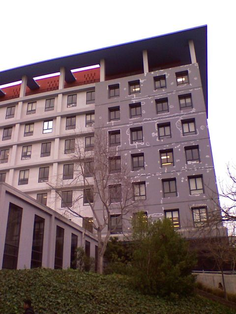 Barrows Hall at UC Berkeley, partially painted