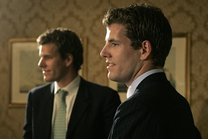 Armie Hammer and Josh Pence as Cameron and Tyler Winklevoss