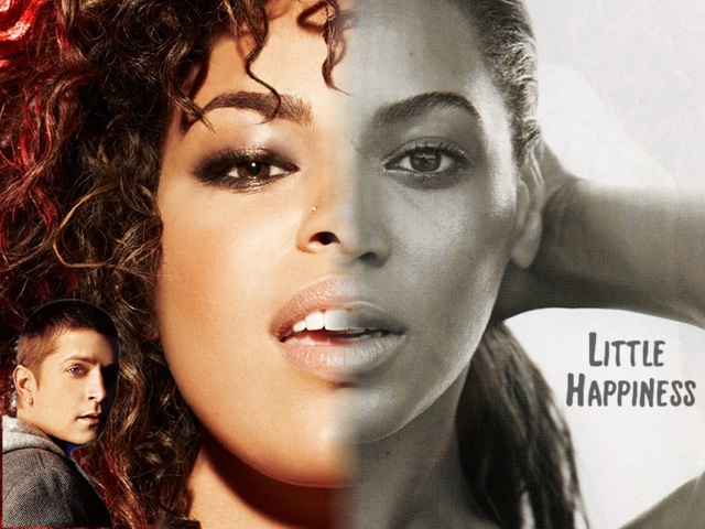 """The artwork for """"Little Happiness"""" shows Beyoncé and Jordin Sparks, with Rob Thomas in the corner"""