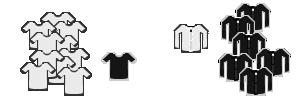 10 white shirts, 1 black shirt; 6 black jackets, 1 white jacket