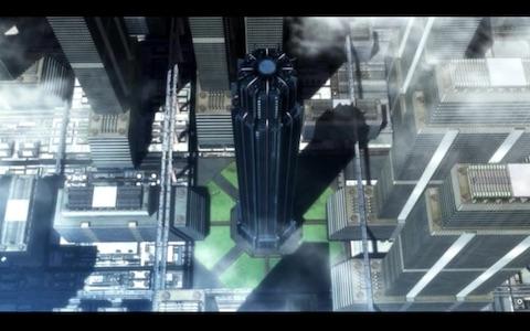 (giant octagonal black tower)
