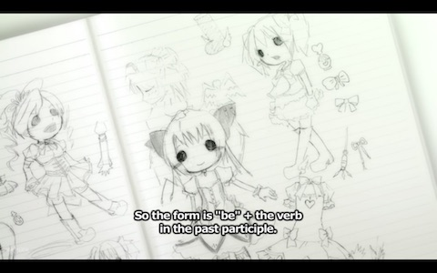(Madoka's sketches of magical girl costumes)
