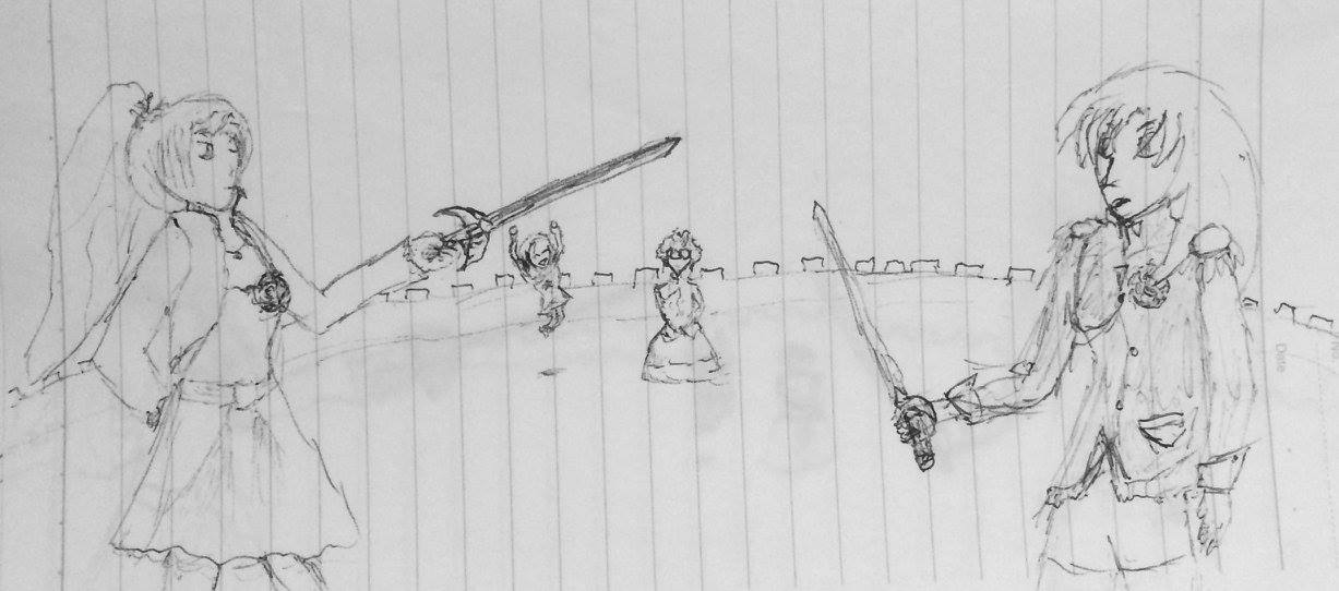 Weiss Schnee and Tenjou Utena face off in the Ohtori dueling arena with their swords out, with Himemiya Anthy observing and Ruby Rose cheering for Weiss