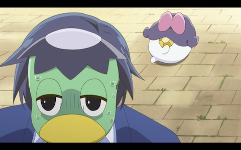 (Azuma Sara escapes a locked building in kappa form.)